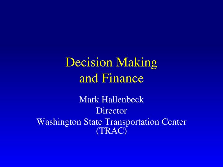 decision making and finance n.