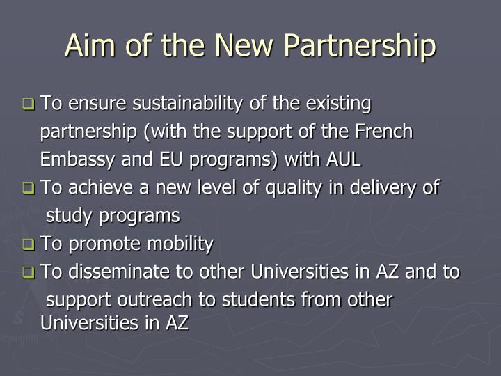 Aim of the New Partnership