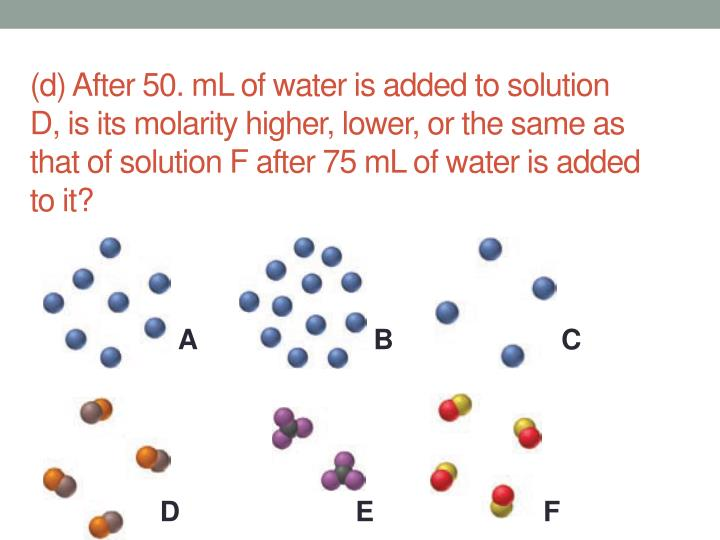 (d) After 50. mL of water is added to solution