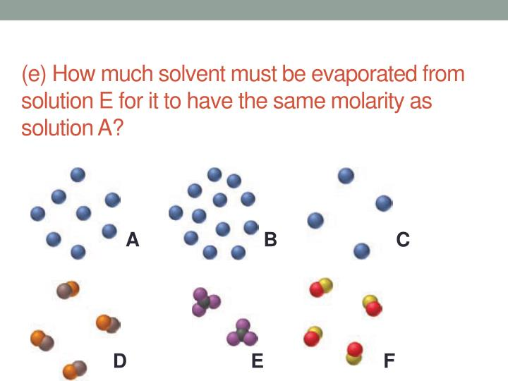 (e) How much solvent must be evaporated from solution E for it to have the same molarity as solution A?