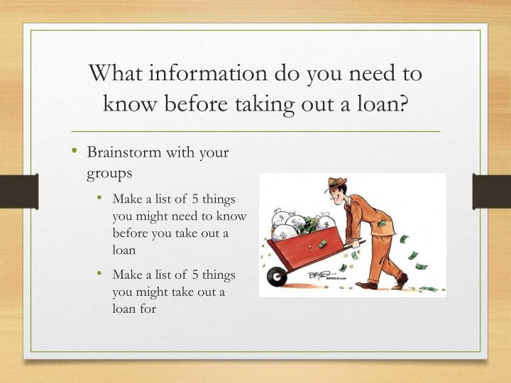 What information do you need to know before taking out a loan