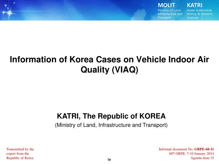 lnformation of korea cases on vehicle indoor air quality viaq n.