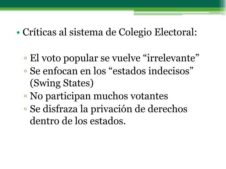 Críticas al sistema de Colegio Electoral