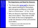 the importance and need for deacons