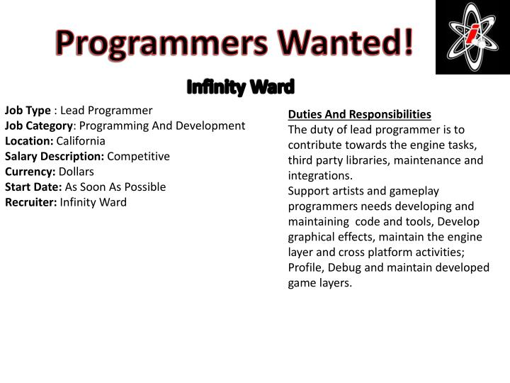 Programmers Wanted!