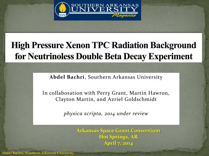 high pressure xenon tpc radiation background for neutrinoless double beta decay experiment n.