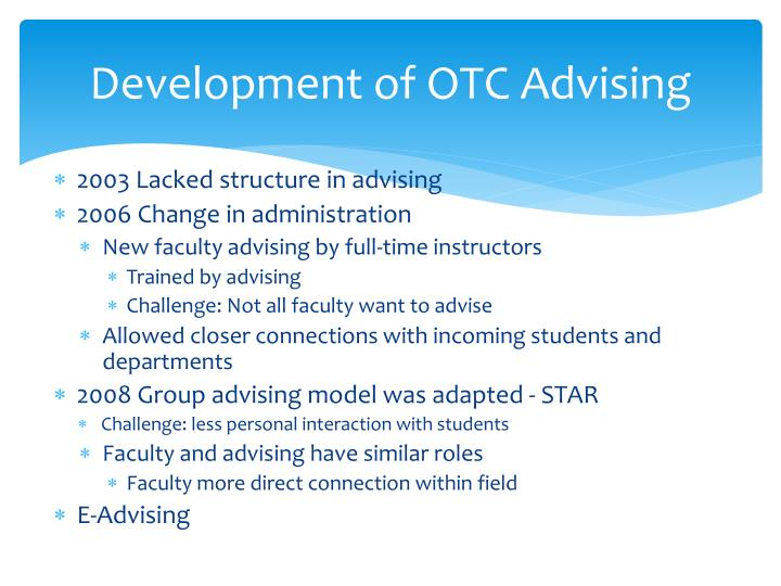Development of OTC Advising
