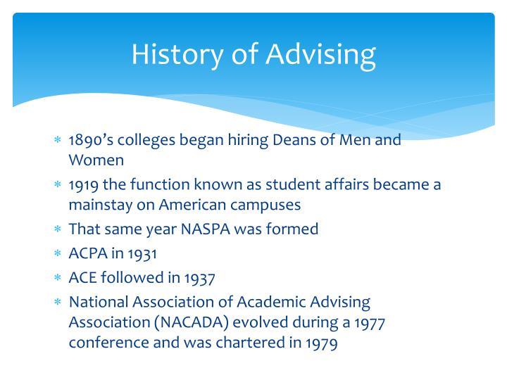 History of Advising