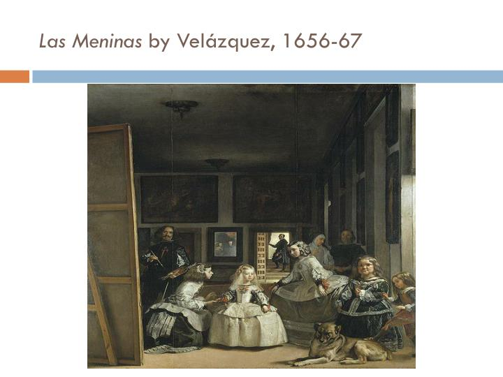 diego velazquez s las meninas Las meninas (pronounced [las meˈninas] spanish for the ladies-in-waiting) is a 1656 painting in the museo del prado in madrid, by diego velázquez, the leading artist of the spanish golden age.
