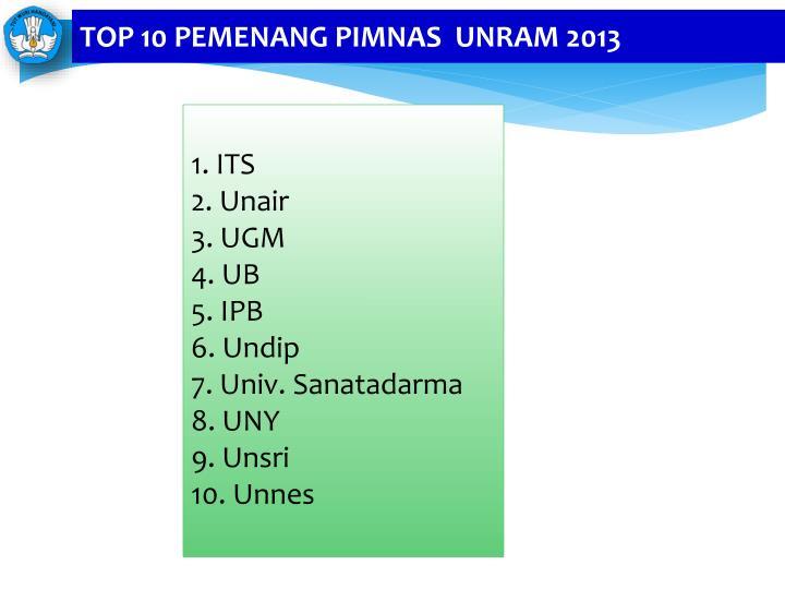 TOP 10 PEMENANG PIMNAS  UNRAM 2013