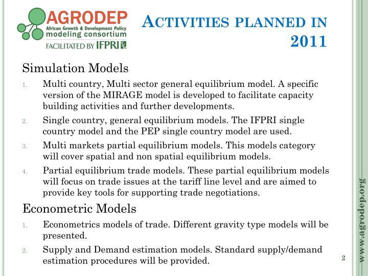 Activities planned in 2011
