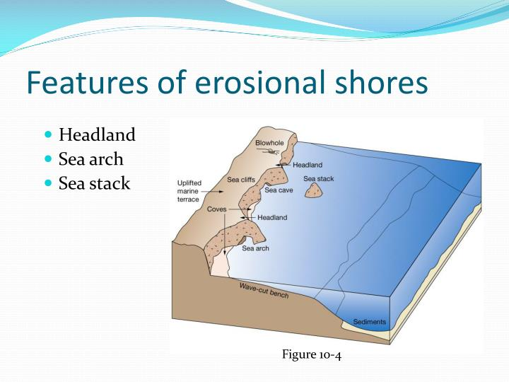 Features of erosional shores