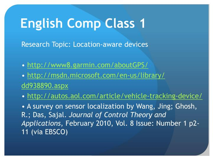English Comp Class 1