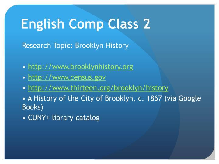 English Comp Class 2