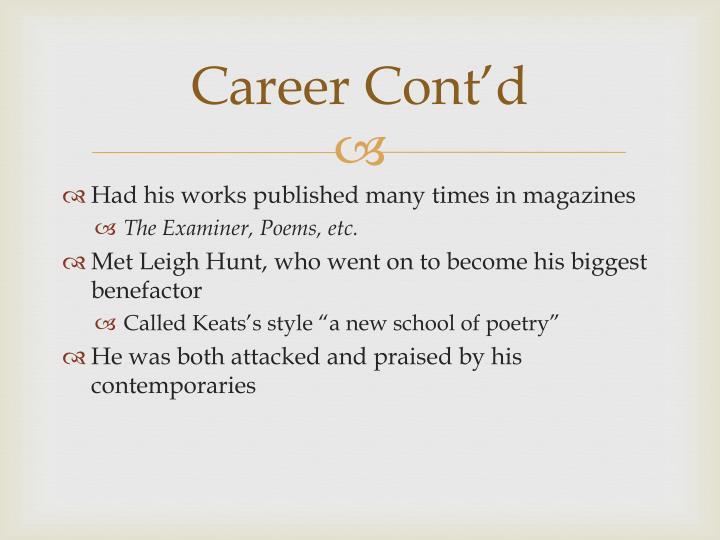 Career Cont'd