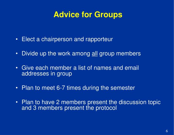 Advice for Groups