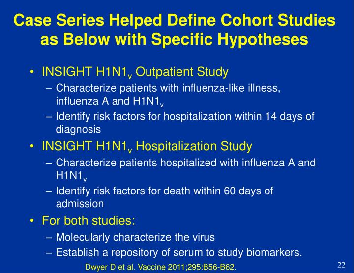 Case Series Helped Define Cohort Studies as Below with Specific Hypotheses