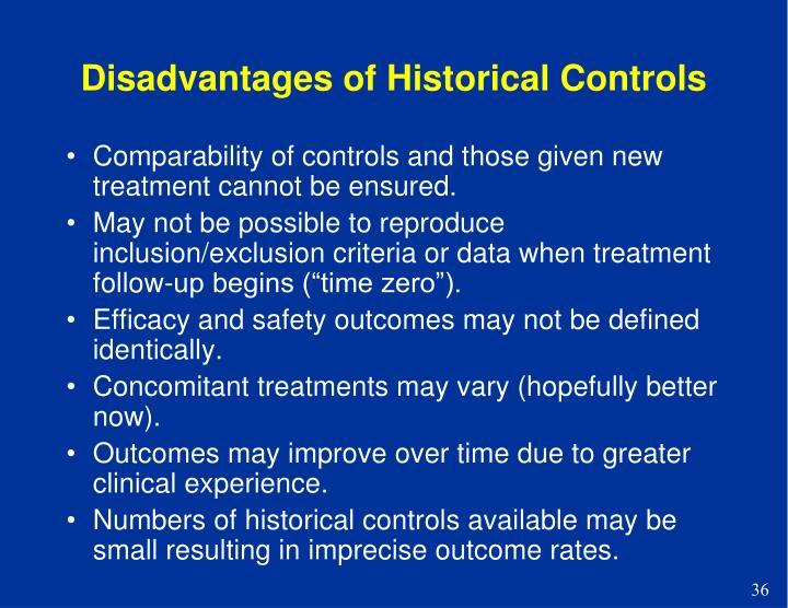 Disadvantages of Historical Controls