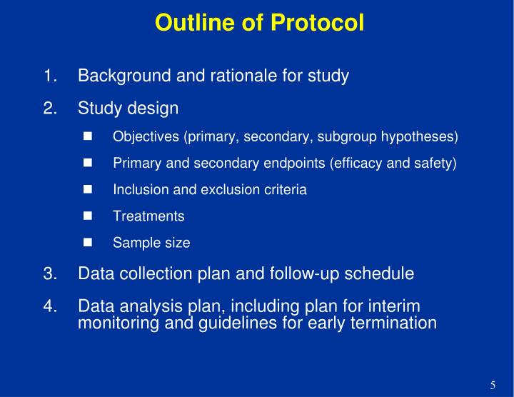 Outline of Protocol