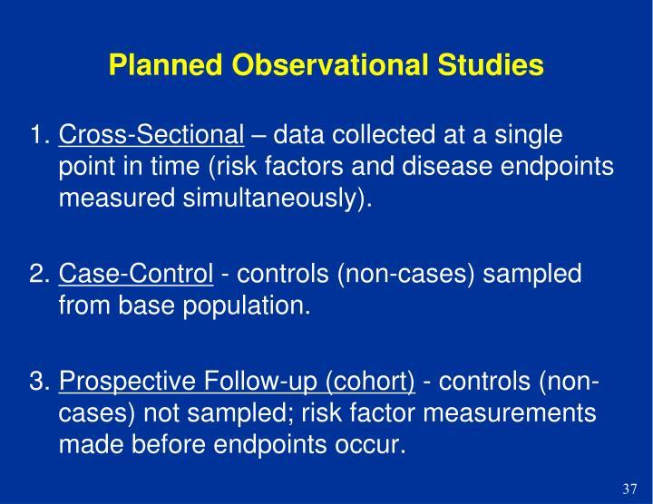 Planned Observational Studies