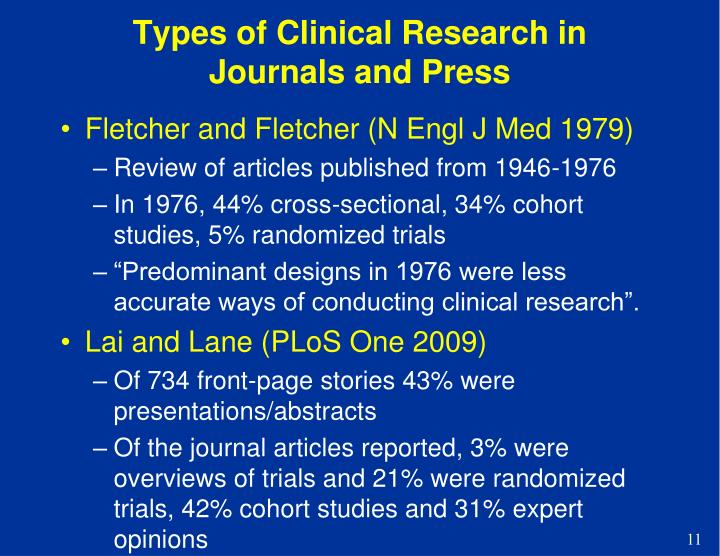 Types of Clinical Research in Journals and Press