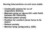 nursing interventions on unit once stable