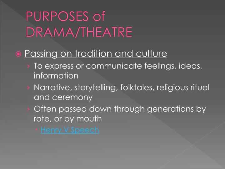 PURPOSES of DRAMA/THEATRE
