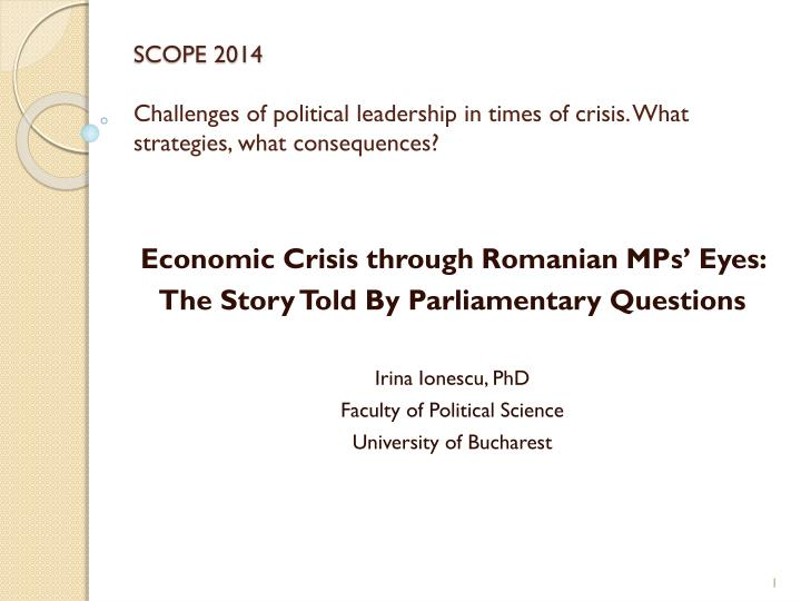 scope 2014 challenges of political leadership in times of crisis what strategies what consequences n.