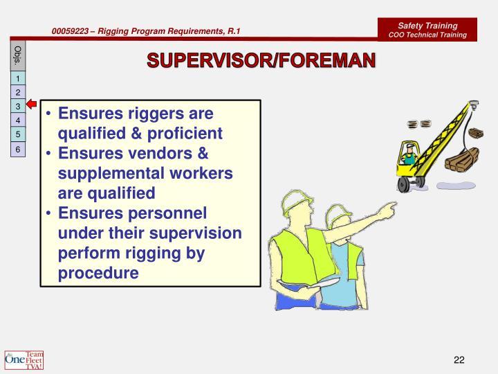 SUPERVISOR/FOREMAN