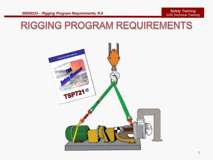 RIGGING PROGRAM REQUIREMENTS