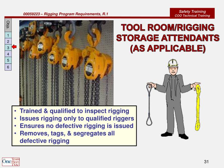 TOOL ROOM/RIGGING STORAGE ATTENDANTS (AS APPLICABLE)