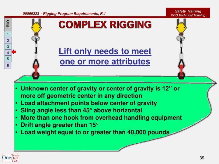 COMPLEX RIGGING