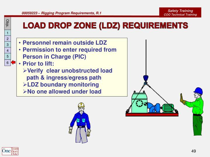 LOAD DROP ZONE (LDZ) REQUIREMENTS