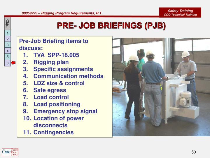 PRE- JOB BRIEFINGS (PJB)