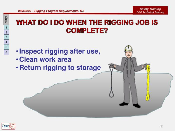 WHAT DO I DO WHEN THE RIGGING JOB IS COMPLETE?
