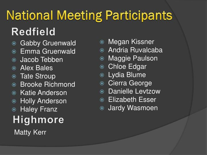 National Meeting Participants