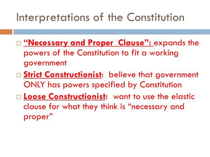 Interpretations of the Constitution