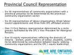 provincial council representation
