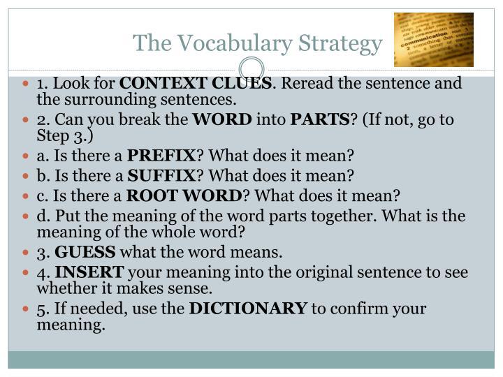 The Vocabulary Strategy