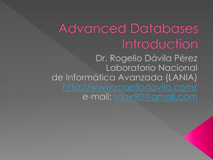 advanced databases introduction n.