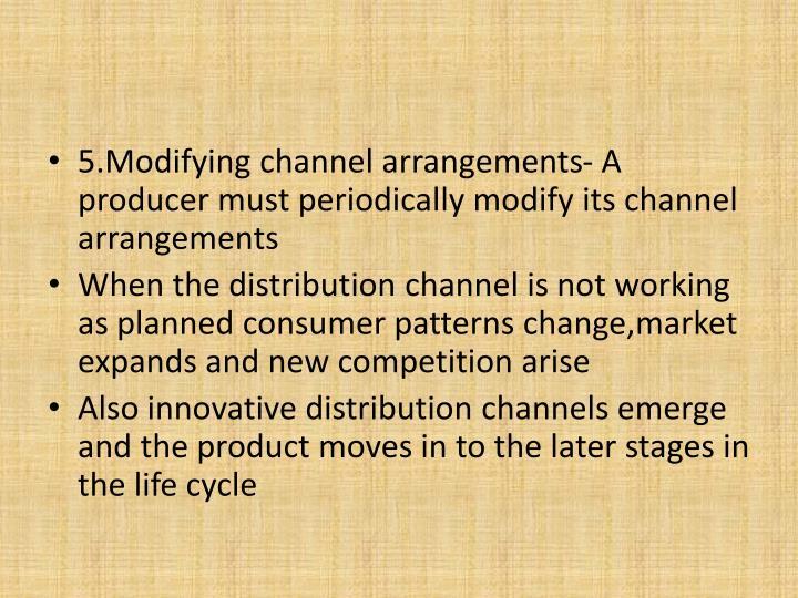5.Modifying channel arrangements- A producer must periodically modify its channel arrangements