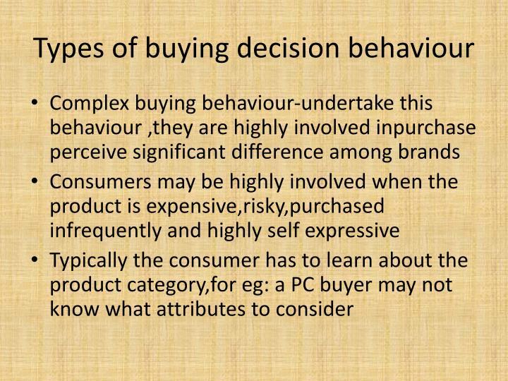 Types of buying decision behaviour