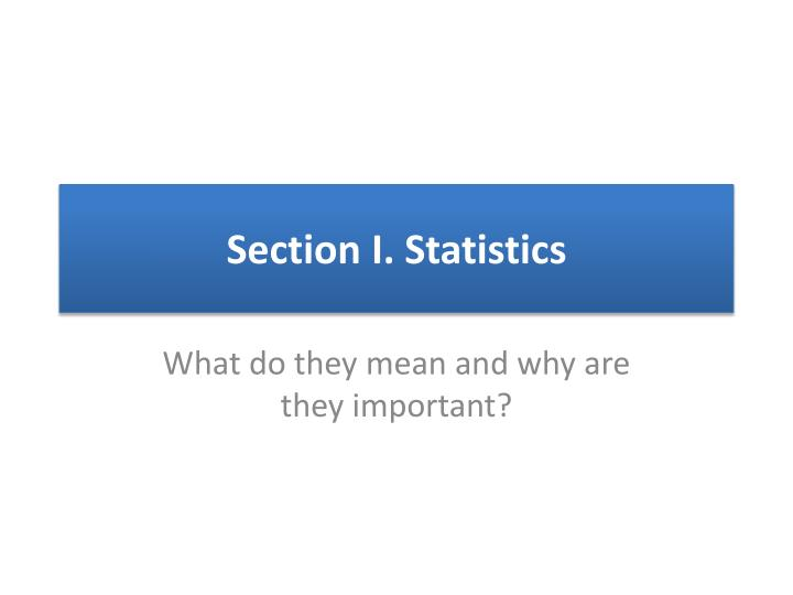 section i statistics n.