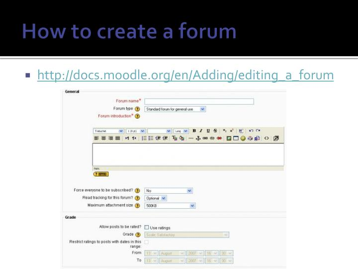 How to create a forum