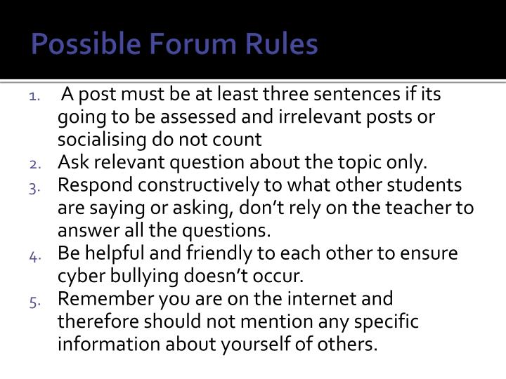 Possible Forum Rules