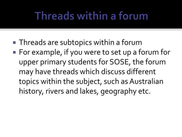 Threads within a forum