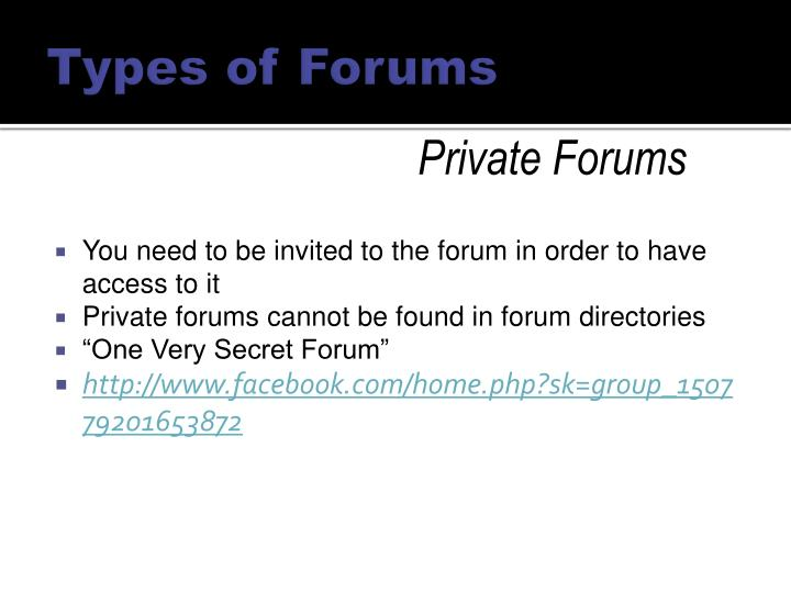 Types of Forums