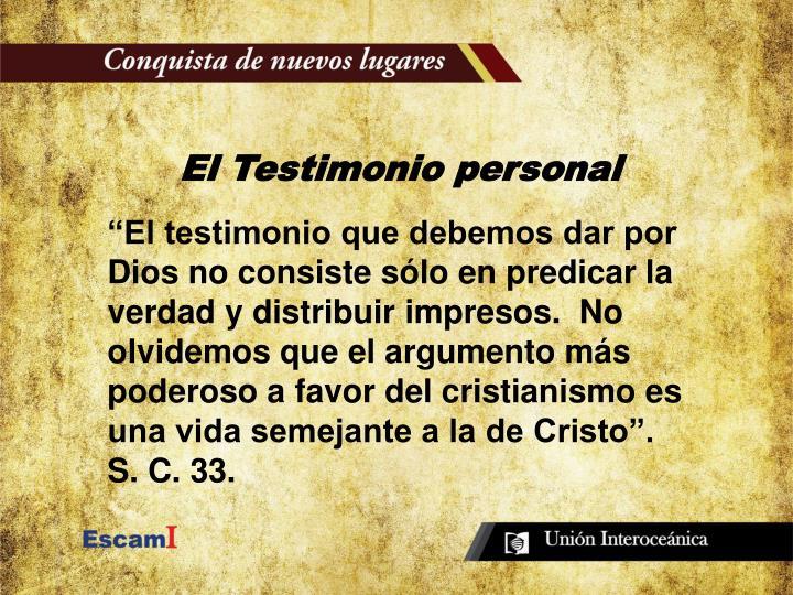 El Testimonio personal