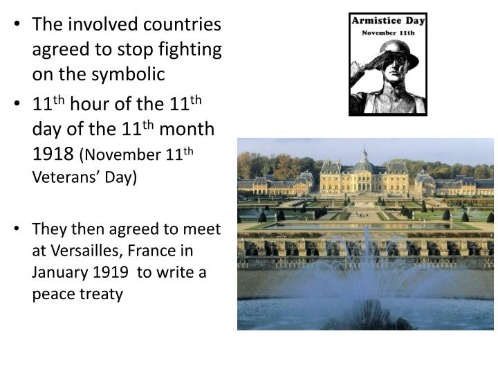 Ppt armistice an agreement to stop fighting powerpoint the involved countries agreed to stop fighting on the symbolic platinumwayz