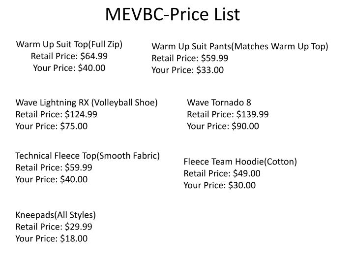 Mevbc price list